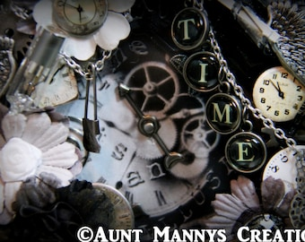"""Re-Purposed Mixed Media Altered Steampunk Alarm Clock """"Time is an Illusion"""""""