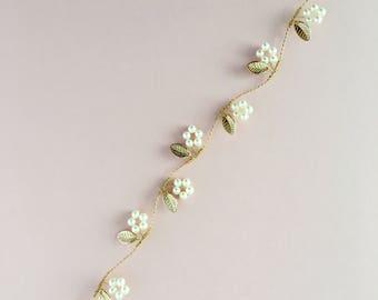 Gold Leaf Bridal Hair Vine, Bridal Headpiece