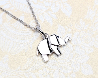 Cute Origami Elephant Necklace | Sterling Silver Elephant Charm Necklace | Origami Elephant Pendant Animal Jewelry