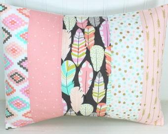 Pillow Cover, Decorative Pillows, Cushion Cover, Throw Pillows, Baby Girl, 12x16, Nursery Decor, Feather, Boho, Blush Pink Gray Mint Gold