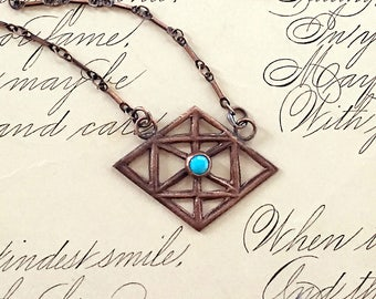 Sleeping Beauty Turquoise, Geometric Necklace, Copper Jewelry, December Birthstone