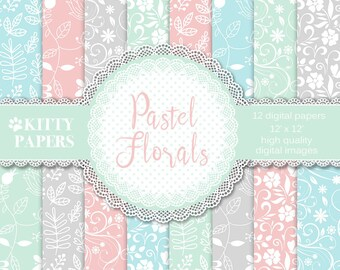 "Pastel digital paper : "" Pastel Flowers "" floral digital paper for wedding invitations, scrapbooking, decoupage, cardmaking / swirl patterns"