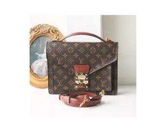 Authentic Louis Vuitton Monogram Monceau 2 way tote shoulder handbag