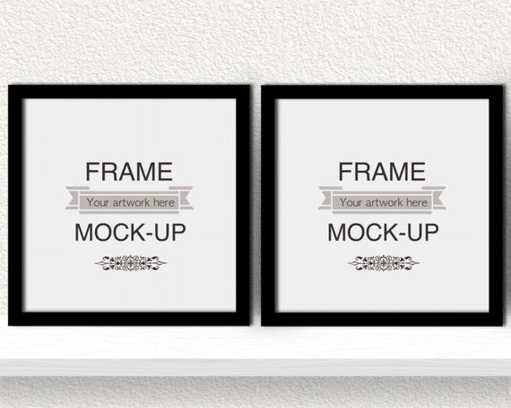 Black frame mockup, square frames, double frame overlay, 10 x 10 ...