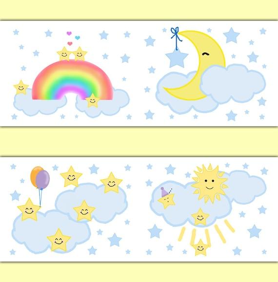 MOON STAR BORDER Nursery Decal Wall Art Neutral Baby Stickers