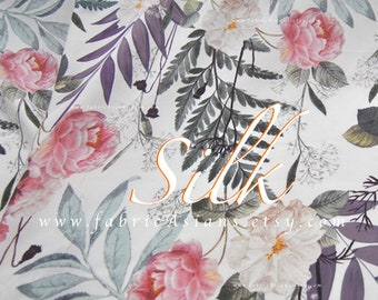 Crêpe de Chine White silk fern leaves pink Camellia fabric by the yard