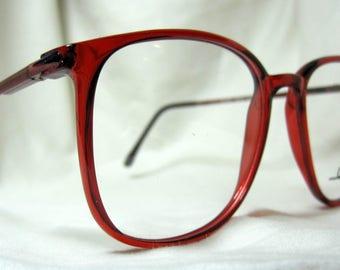 Vintage 80s Oversized  Eyeglass Frames. Cherry Red Wine