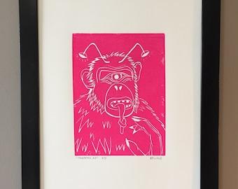Linocut, lowbrow art, limited print, space art, monkey print