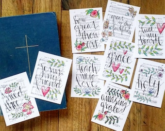 Journaling Cards 3x4 Pocket Pages Letters Print Hymn Fine Art Hymnal Project Watercolor Painting Sheet Music Life Calligraphy Christian