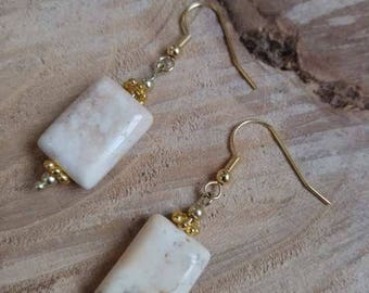 White Howlite and gold earrings