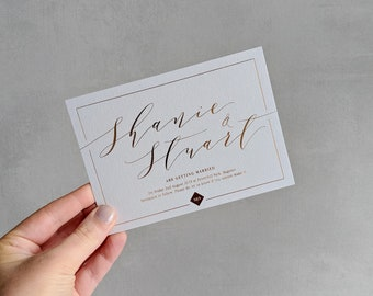 A6 Modern Calligraphy Save The Date - Printed Save The Date - Personalised Save The Date's - Includes Envelope - With or without foil