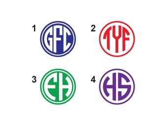 Monogram Decal - Monogram Vinyl Sticker - Vinyl Decal - Initial Sticker - Monogram Agenda Sticker - Monogram Bottle Sticker - Cup Decal
