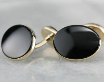 Vintage Black Onyx Cufflinks in Yellow Gold, Men's Vintage Jewelry, Suit Accessories, Groom Gift ZKZHAL-R