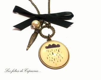 Necklace • glass Cabochon necklace pretty pluie•