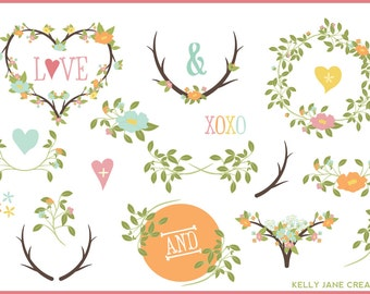 Pastel Blooming Wreaths, Laurels & Branches - Blog Graphics - Instant Download
