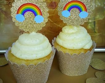 Rainbow Party Decorations / Rainbow Cupcake Toppers / 12 Count / Rainbow Baby / Rainbow Birthday Decorations / Rainbow Baby Shower Decor