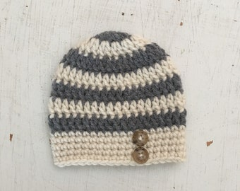 Striped Baby Hat, Baby Beanie Hat, Striped Baby Beanie - ANY COLOR