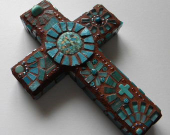 Southwestern Mosaic Cross, Turquoise Cross, Housewarming Gift, Birthday Gift, Baptism, First Communion, Mother's Day Gift, Engagement Cross