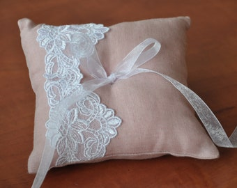 Pink linen tea and white lace ring pillow