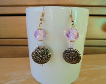 Vintage Metal Buttons on ONE of a KIND Handmade Earrings with Lampwork Beads