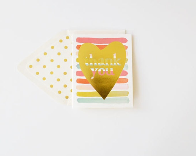 Thank You Card gold foil heart
