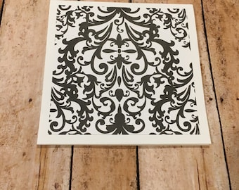 Damask Print Note Cards Blank -6 Pack with FREE Shipping