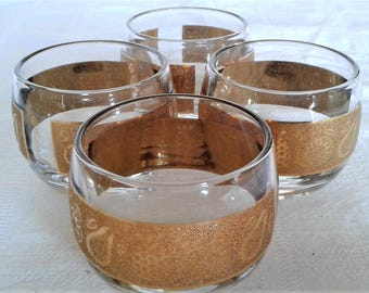 Vintage Culver Fruits Roly Poly Glasses with Twenty-Two Karat Gold Band
