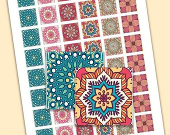 1 Inch SQUARES Collage Sheet - Arabesque Mandala Designs - For Pendants, Magnets & Wine Charms - Inchies Square Tiles PDF 1 Inch - Pe