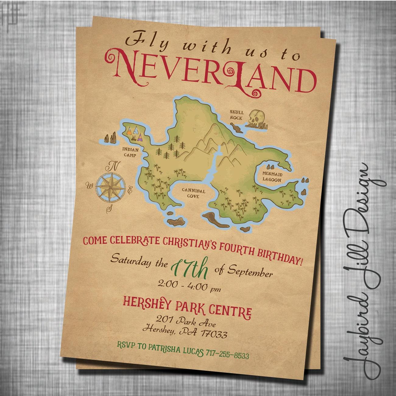Neverland Birthday Invitation Peter Pan Party Treasure Map