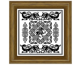 Gothique-  cross stitch pattern, filet crochet pattern. Instant download PDF.