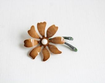 Daisy Brooch, Daisy Pin, Brown Daisy Brooch, Brown Daisy Pin, Flower Brooch, Flower Pin, Brown Daisy Enamel Flower Brooch, Enamel Flower Pin
