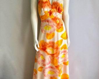 Vintage Women's 60's/70's Tori Richards, Halter, Maxi Dress, White (XS)