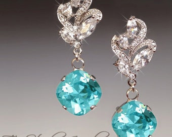 Mint Green Bridesmaid Earrings -Turquoise Pacific Opal - Blue Swarovski Cushion Cut Stones