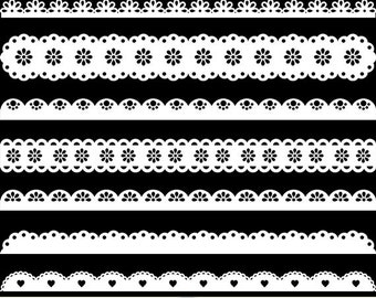 White Borders Clipart Scalloped Borders Clip Art Ribbons Punch Borders Digital Scrapbooking Invitations Card Making Commercial Lace Borders