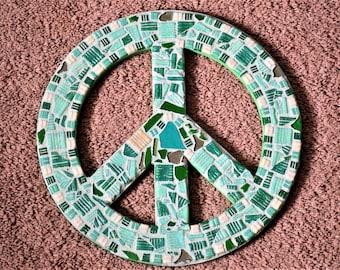 Green theme peace sign mosaic artwork