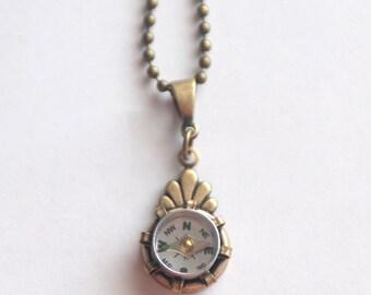 Compass Necklace, Working Compass Necklace, Steampunk Necklace, Brass Compass Necklace, Mini Compass Jewelry Industrial Geek Nerd Gift SRAJD