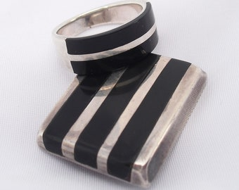 Sterling Silver with Inlaid Onyx Ring Pendant Set, Ring Marked 925, Matching Pendant Hallmarked S & C