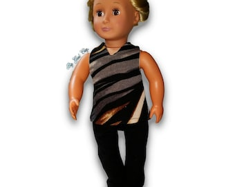 """Animal Stripes Sweater Top & Leggings Outfit 18"""" Doll Clothes [41919C]"""