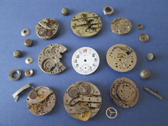 Assorted Vintage Pocket and Wrist Watch Parts for your Watch Projects - Steampunk Art - Metalworks - Jewelry Making,
