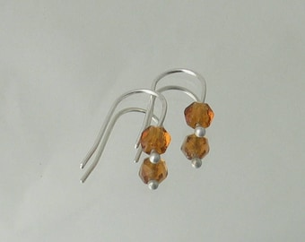 Petite Amber Earrings•Antique Faceted Amber Glass Bead•Amber Glass Earrings•Gold Earring Drops•Minimalist Earrings•Argentium Sterling Silver