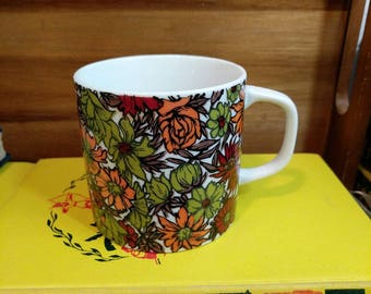 Vintage Holt Howard Maroon, Avocado Green, and Orange Floral Porcelain Mug