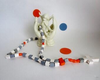 Catholic Rosary Made With Lego bricks -  Light Gray, White  & Orange - Kids Rosary First Communion Gift