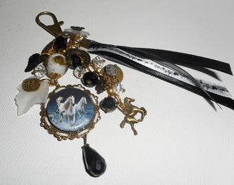 Jewelry bag/key horses with glass, Crystal beads and ribbons