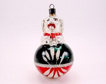 Vintage Glass Dog On Ball Christmas Ornament Figural Glass Dog Christmas Decoration