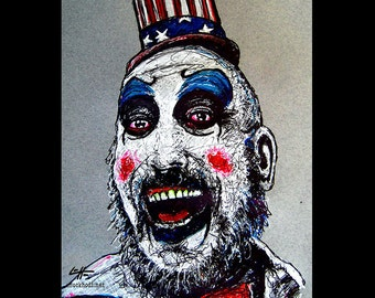 "Print 8x10"" - Captain Spaulding - Clowns Horror Sid Haig Dark Art Scary Creepy Rob Zombie Corpse Devils Rejects Pop Art Gothic Serial Killer"