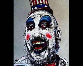 """Drucken 8 x 10""""- Captain Spaulding - Clowns Horror Sid Haig dunkel Kunst unheimlich gruselig Rob Zombie Leiche Devils Rejects Pop-Art gotischen Serienmörder"""