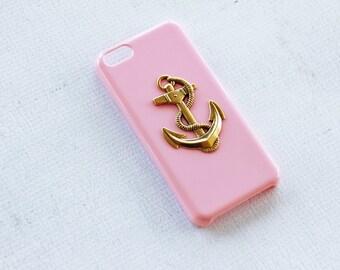 iPhone X Case iPhone 8 Case Anchor Case Nautical Case Pink Case Cover Smartphone Hard Case Cute Case 5c Case Gold Pink