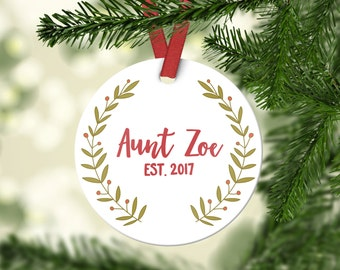 Aunt Pregnancy Announcement Aunt Ornament New Aunt Gift Christmas Gift for Sister Aunt Pregnancy Reveal Personalized Christmas Ornaments