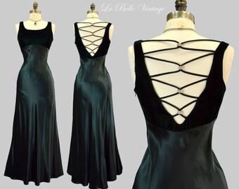 Strappy V Back Evening Dress S Vintage Green Satin Velvet Bias Gown