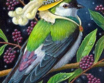 "Renaissance bird - ""Allalian Treesinger"" - 5x7 print"